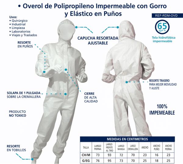 Overol de Polipropileno Impermeable con Gorro y Elástico en Puños