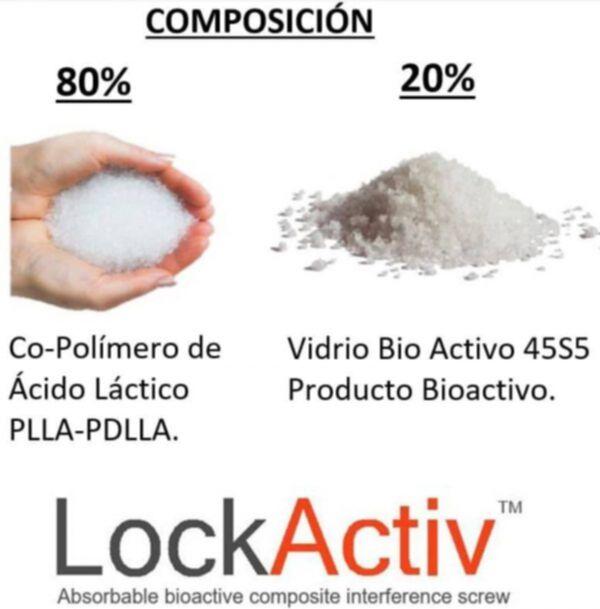 Composición de Tornillo Interferencial Compuesto Bioactivo Absorbible para Ligamento Cruzado Lock Activ NORAKER Glass Bone