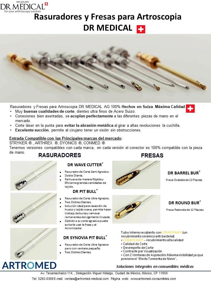 Rasuradores y Fresas para Artroscopia DR MEDICAL AG compatibles con pieza de mano stryker arthrex dyonics